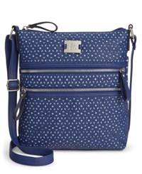 Styleandco. Style And Co. Veronica Perforated Crossbody Only At Macy's Blue Perf