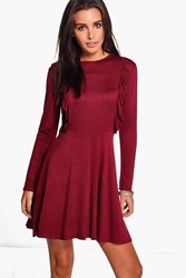 Boohoo Ruffle Long Sleeve Skater Dress Merlot