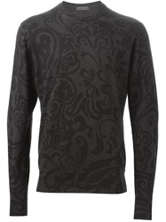 Etro Paisley Print Sweater Grey
