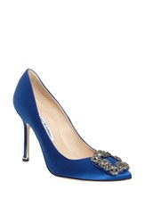 Women's Manolo Blahnik 'Hangisi' Jeweled Pump Blue Satin