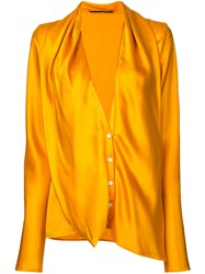 Haider Ackermann Plunge Neck Shirt Women Silk 38 Yellow Orange