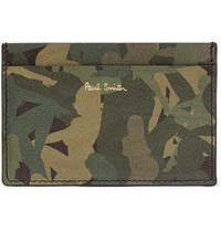 Paul Smith Camouflage Print Textured Leather Cardholder Green