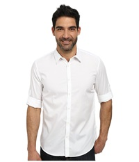 Calvin Klein Solid Texture Dobby Roll Up Woven Shirt White Men's Long Sleeve Button Up