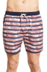 Men's Scotch And Soda Tropical Stripe Print Swim Trunks
