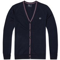 Fred Perry School Tipped Cardigan Blue