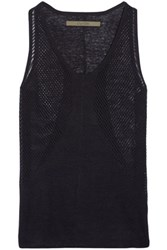 Enza Costa Pointelle Paneled Linen Tank Midnight Blue