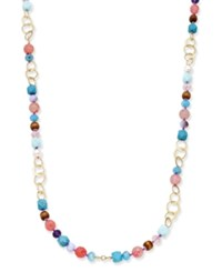 Lonna And Lilly Gold Tone Long Beaded Link Statement Necklace Multi