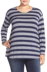 Plus Size Women's Sejour Long Sleeve Stripe Tee