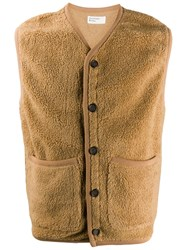 Universal Works Textured Button Up Gilet Brown