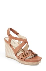 Me Too Women's Wedge Sandal Brown Leather