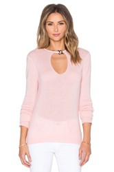 Halston Keyhole Front Sweater Pink
