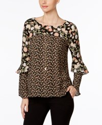 Ny Collection Mixed Print Ruffled Top Floral Twinprint