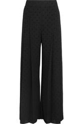 See By Chloe Pleated Polka Dot Crepe Wide Leg Pants Black