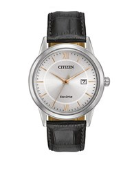 Citizen Men S Eco Drive Stainless Steel And Leather Watch Silver