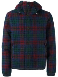 Moncler Grenoble Checked Hooded Jacket Red