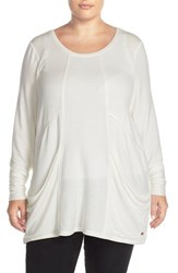 Melissa Mccarthy Seven7 Plus Size Women's Slouchy Pocket Tunic Off White