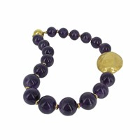 Plumeria Exclusive London Chunky Amethyst And Gold Motif Necklace Blue