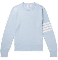 Thom Browne Striped Cotton Sweater Sky Blue