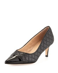 Neiman Marcus Lallie Quilted Cap Toe Pump Black