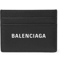 Balenciaga Everyday Logo Print Full Grain Leather Cardholder Black