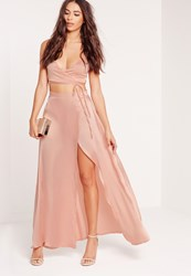 Missguided Petite Exclusive Satin Wrap Maxi Skirt Mauve Pink
