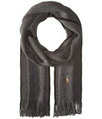 Polo Ralph Lauren Classic Lux Merino Wool Scarf Charcoal Scarves Gray