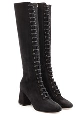 Red Valentino Lace Up Suede Boots Black