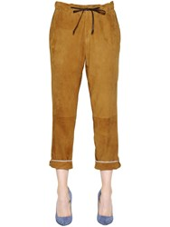 Trussardi Boyfriend Fit Suede Pants