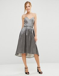 Little Mistress Bandeau Dress With Sweetheart Neck Grey