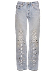 Bliss And Mischief Bandana Embroidered Straight Leg Jeans Blue Multi