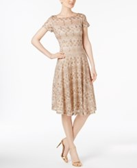 Sangria Sequined Lace Fit And Flare Dress Tan