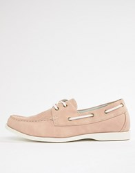 New Look Faux Suede Boat Shoes In Light Pink Light Pink
