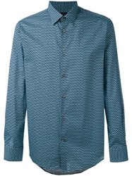 Pal Zileri Geometric Print Long Sleeve Shirt Men Cotton 43 Blue