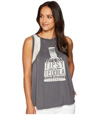 Rock And Roll Cowgirl Tank Top 49 6709 Charcoal Sleeveless Gray