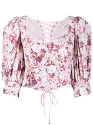 For Love And Lemons Houston Floral Print Cropped Blouse Pink