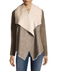 Neiman Marcus Faux Fur Rib Knit Jacket Taupe