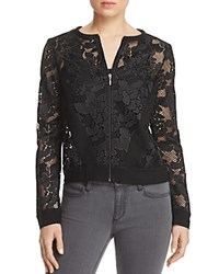 Three Dots Abstract Netted Lace Jacket Black