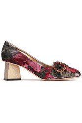 Dolce And Gabbana Woman Crystal Embellished Metallic Brocade Pumps Multicolor