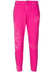 Marco Bologna Cropped Distressed Jeans Pink And Purple