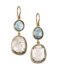 Lena Skadegard Rutilated Quartz Moss Aquamarine And 18K Yellow Gold Double Drop Earrings