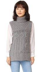 Derek Lam Oversized Turtleneck Sweater Grey Melange