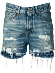 R 13 R13 Double Hem Denim Shorts Blue