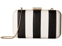 Alice Olivia Shirley Striped Large Clutch Black White Clutch Handbags