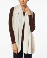 Inc International Concepts Faux Fur Trim Scarf Only At Macy's Ivory