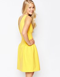 Closet Fit And Flare Dress With V Back Yellow