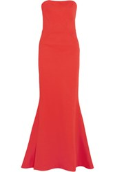 Zac Posen Strapless Fluted Bandage Gown Coral