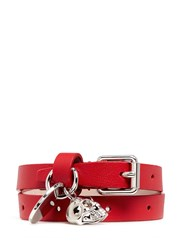Alexander Mcqueen Skull Charm Double Wrap Leather Bracelet Red