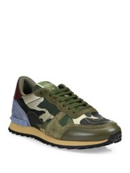 Valentino Metallic Rockstud Leather Camouflage Sneakers Army Green