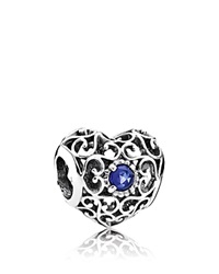 Pandora Design Pandora Charm Sterling Silver And Synthetic Sapphire September Signature Heart