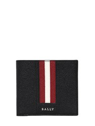 Bally Striped Saffiano Leather Classic Wallet Black Red